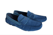 Prada Men's Oltremare Blue Suede Driver Shoes Size 8.5