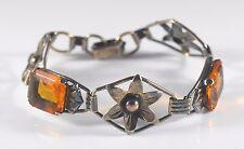 Vintage Art Deco Sterling Silver 1/20 12kt GF Floral Bracelet Orange Paste Stone