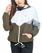 Womens Colour Block Festival Jacket Bomber Coat Contrast Hooded WindBreaker Cute