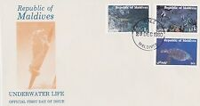 MALDIVES 1980 FIRST DAY COVER - RIDLEY TURTLE - ANGEL FLAKE FISH - SPINY LOBSTER