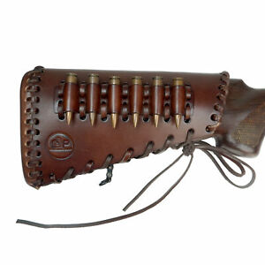 Leather Rifle Buttstock Ammo with Cartridge Holder, Hand Stiched Gun Ammo Sleeve