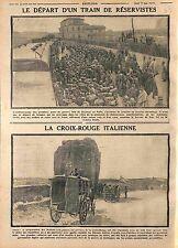 Treno riservisti soldati Croce Rossa Italiana Italia Red Cros Italy  WWI 1915