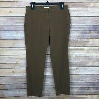 J Jill Womens 8 Premium Bi Stretch Crop Pants Skinny Leg Front Seam Slim Brown