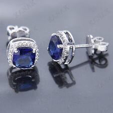 6mm Cushion Cut Sapphire and Diamond 14k White Gold Halo Stud Earrings