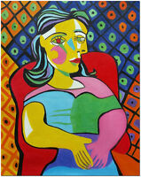 Sitting Woman - Hand Painted Pablo Picasso Oil Painting On Canvas Wall Art