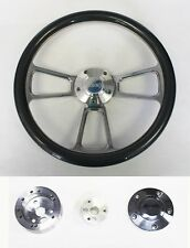 "Jeep Wrangler YJ CJ Cherokee Carbon Fiber and Billet Steering Wheel 14"" Jeep cap"
