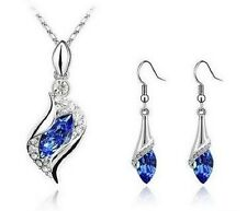 WHITE GOLD PLATED BLUE AUSTRIAN CRYSTAL NECKLACE, EARRINGS SET