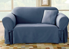 Sofa size bluestone blue Cotton Duck Lightweight One Piece Slipcover sure fit