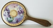 Vintage Hand Held Mirror Violet Bouquets Porcelain Top