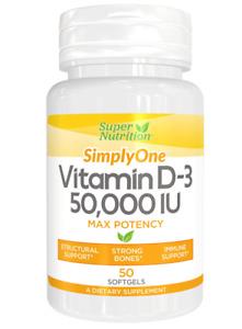 Super Nutrition Vitamin D3 50,000 IU 50 Softgels
