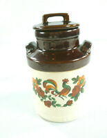 Vtg McCoy Pottery Milk Jug Jar Rooster Hand Painted Folk Art Canister