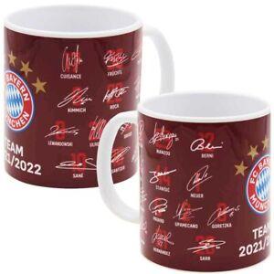 FC Bayern München Tasse Unterschriften 2021/2022 Autogramme Team FCB Fanartikel