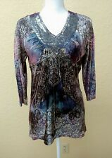 Style & Co Womens Top Sz Petite Large Crushed Velvet Colorful V Neck 3/4 Sleeves