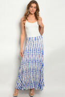 Misses Blue and Ivory Tribal Print Jersey Knit Maxi Skirt Lined SZ Medium NEW