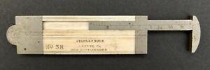 "Stanley Rule & Level Co. No. 38 Bone & German Silver Folding 6"" Ruler Caliper"