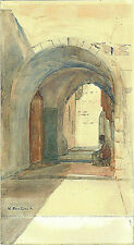 JUDAICA Muriel Bentwich Moschenson Watercolor Drawing Old City Jerusalem Signed