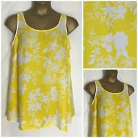 Evans Yellow Floral Chiffon Tunic Sleeveless Top Plus Size 14 - 32 New (e-26h)