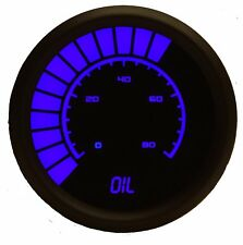 LED Analog Bargraph OIL PRESSURE Gauge in BLUE w/ Black Bezel by Intellitronix