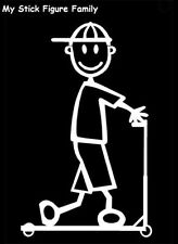 SB4 SMALL BOY WITH SCOOTER - MY STICK FIGURE FAMILY CAR WINDOW STICKER DECAL