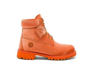 Timberland X Off White Velvet Orange Boots 11 US Men