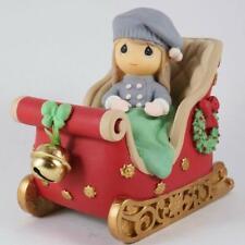Precious Moments Figurine Musical Christmas Sleigh Plays Jingle Bells #911008