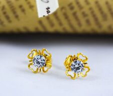 Gold Plated Small Earrings Studs Indian Jewelry Flower Wedding Fashion Designer