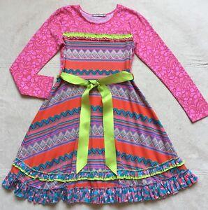 Jelly the Pug Girls Long-Sleeved Francesca Dress, Size 10, Multi-Color Geometric