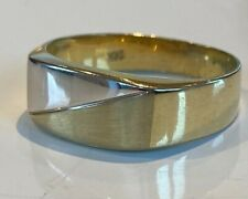 Mens Gents 9CT GOLD band Ring YELLOW AND WHITE GOLD STUNNING