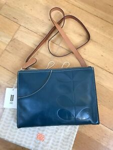 Orla Kiely Indigo Leather Forget Me Not Bag Cross-Body BNWT