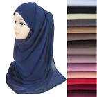Heavy Chiffon Muslim Womens Hijab Shawl Head Scarf - Crochet Edges