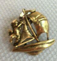 Vintage Christian Angel Sailboat Lapel Pin Religious Nautical Ship Collectible