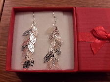 dangle Earrings with gift box Brand new beautiful silver filagree leaves