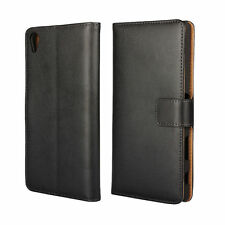 Black Genuine Leather Business Wallet Flip Case Cover for Sony Xperia Z5 Premium