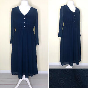 Together Dress UK 14 Blue V Neck Embroidery Elastic Waist Midi Long Sleeve NEW