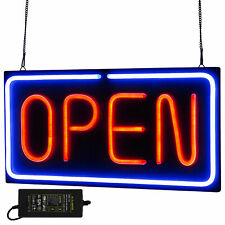 Neon Open Sign 24x12 inch Led Light 30W Horizontal Game Rooms Hanging Chain Usa