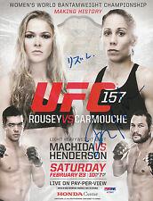 DAN HENDERSON LIZ CARMOUCHE SIGNED AUTO'D MINI POSTER PSA/DNA COA UFC 157 CHAMP