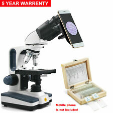 Swift 40x 2500x Led Compound Microscope With Phone Holder Adapterprepared Slides