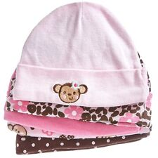 Animal Print and Girls 5pk CAP SET Monkey 0-12 Months 100% Cotton and Multi-Co