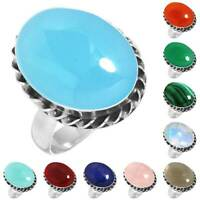 925 Sterling Silver Gemstone Ring Women Jewelry Size 5 6 7 8 9 10 11 12 13 YV680