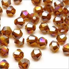 Lot de 40 Perles Tchèques Toupies en Cristal 4mm Marron Irisé