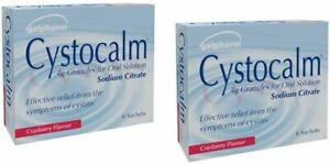 2 x Cystitis relief From Burning Pain, Cystocalm 12 Sachets Granules Cranberry