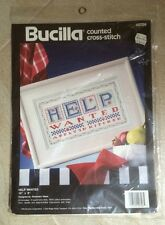 """Vintage Bucilla Corp. 1993 #40726 """"Help Wanted"""" Counted Cross Stitch Kit"""