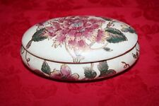 Ceramic Oval Container or Trinket Box with Lid
