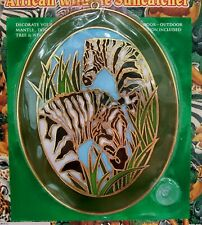 "Hermitage Pottery Large 8"" Oval Suncatcher African Wildlife Zebra In Jungle, New"