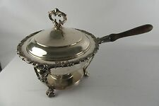 Vintage Silver Plated Double Boiler Chafing Dish Ornate Embossed Wood Handle
