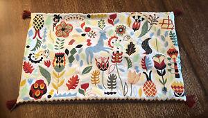 "Ikea Rodarv Embroidered Folk Pillow Cover Sham 16"" x 26"" Pillow"