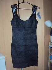 JANE NORMAN BODYCON PENCIL PARTY stretchy  SILVER Stud DRESS SIZE 12 BUT FIT 10