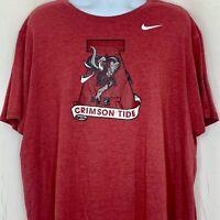 The Nike Tee Mens T Shirt Alabama Crimson Tide NCAA Football Red Distressed 3XL