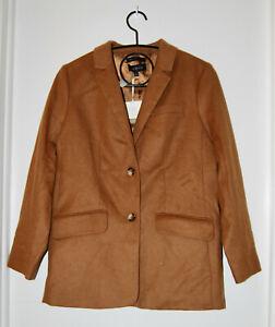 NWT Talbots Wm's Camel Brown Brushed Italian Wool Long-Sleeve Long Blazer sz 4
