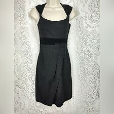 Max and Cleo Womens Dress Size 2 Gray Black Career Sleeveless Twisted Neckline